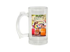 Glass Beer Stein 16oz w/ White Patch